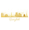 Bangkok City skyline golden silhouette vector image