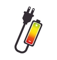 battery level with wire isolated icon vector image