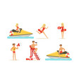 beach-rescue woman and man characters performing vector image vector image