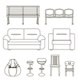 Black and white set of seats vector image vector image