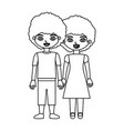 black contour curly couple girl with dress and boy vector image