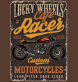 cafe racer motorcycle colorful poster vector image