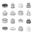 Cakes set icons in monochrome style Big vector image