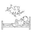 cartoon frightened man hiding under blanket vector image vector image