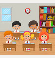 cartoon school kids raising hand in the classroom vector image