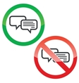 Chatting permission signs set vector image vector image