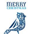 christmas watercolor folk vintage bird card vector image