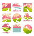 company promotional logotypes set with landscapes vector image vector image