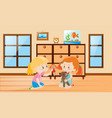 cute girls playing with dolls vector image vector image