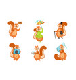 cute little squirrels set funny animals cartoon vector image vector image