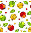 cute seamless pattern with funny bugs and leaves vector image vector image