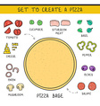 Doodle set of ingredients to build pizza Template vector image
