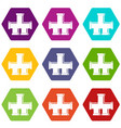drain system icon set color hexahedron vector image vector image