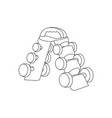 dumbbells on a stand outline fitness equipment vector image vector image