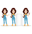 farmer girl dressed in work jumpsuit set cute vector image