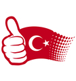 Flag of Turkey - hand showing thumbs up vector image vector image