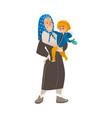 flat cartoon old woman holding boy kid vector image vector image