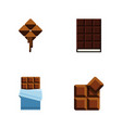 flat icon chocolate set of dessert cocoa bitter vector image vector image