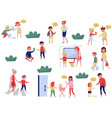 flat set of polite children in different vector image vector image