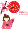 Girl in Kimono with Cherry Blossoms and Bird vector image vector image