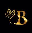 golden monogram beauty logo initial letter b vector image vector image