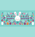 happy easter banner with flowers eggs vector image