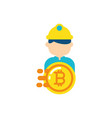 isolated bitcoin and constructer design vector image vector image
