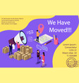 isometric concept people shout on megaphone with vector image vector image