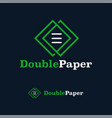 logo design template double paper monogram line vector image vector image