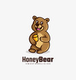 logo honey bear simple mascot style vector image vector image