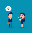 manager give new idea for colleague business vector image