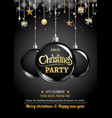 merry christmas party and ball on dark background vector image vector image
