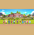mix race pupils over yellow bus school building vector image