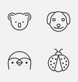 nature icons set collection of puppy marsupial vector image vector image