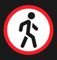 no pedestrians sign flat icon vector image vector image