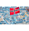 Norway traditional city with flag vector image vector image