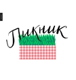 Picnic russian lettering on plaid and grass vector image vector image