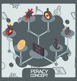 piracy color concept isometric icons vector image vector image