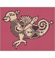 pixel bird design in folk style for cross stitch vector image