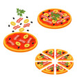 pizza sliced isometric icon set vector image