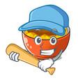 playing baseball katsudon cartoon is ready to vector image