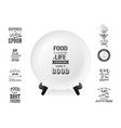 realistic white food dish plate on a stand vector image vector image