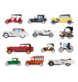 retro vehicles vintage cars isolated icons vector image vector image