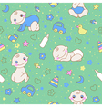 seamless pattern with cute newborn baboy vector image