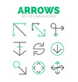 set of arrow icons flat minimal linear thin style vector image
