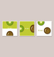 set of fruit banners with kiwi in paper art style vector image vector image