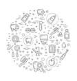 Set of web line icons - teeth dentistry medicine vector image vector image