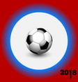 soccer football on white blue and red background vector image vector image