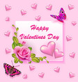 stock valentines day greeting card with rose and vector image vector image
