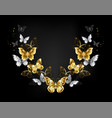 symmetrical pattern gold and white butterflies vector image